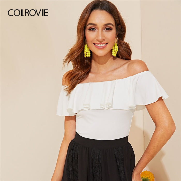 COLROVIE White Flounce Off Shoulder Fitted Tee Summer Tops For Women 2019 Elegant Solid Fashion Clothing Ladies Slim Fit T-Shirt