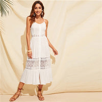 COLROVIE White Guipure Lace Insert Bow Tie Back Boho Cami Dress Women Long Dresses