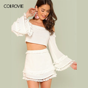 White Off the Shoulder Crop Top and Skirt Set Women Long Flounce Sleeve Two Piece Set