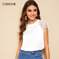 White Solid Contrast Lace Cuff Keyhole Back Elegant Blouse Shirt Women Clothes
