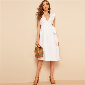 COLROVIE White Solid Ruffle Armhole Belted Surplice Wrap Sheath Dress Women