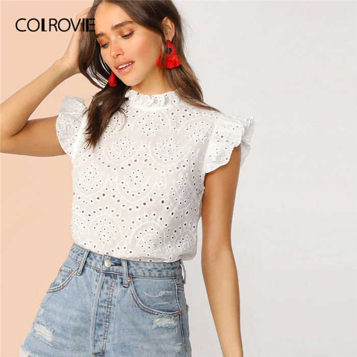 COLROVIE White Solid Ruffle Trim Embroidery Eyelet Boho Blouse Shirt Women 2019 Summer Korean Elegant Ladies Tops And Blouses