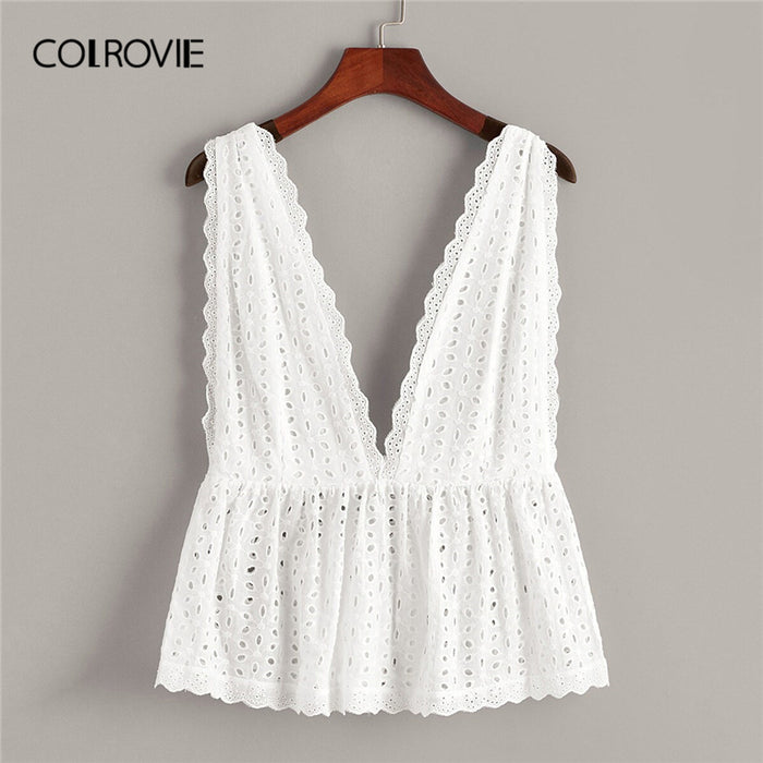 COLROVIE White Solid Schiffy Ruffle Hem Deep V Neck Boho Top Women Clothes 2019 Summer Korean Girly Tee Shirts Holiday Vest