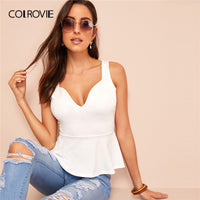 White Solid Zip Back Sweetheart Neck Peplum Tank Top Women Clothes 2019