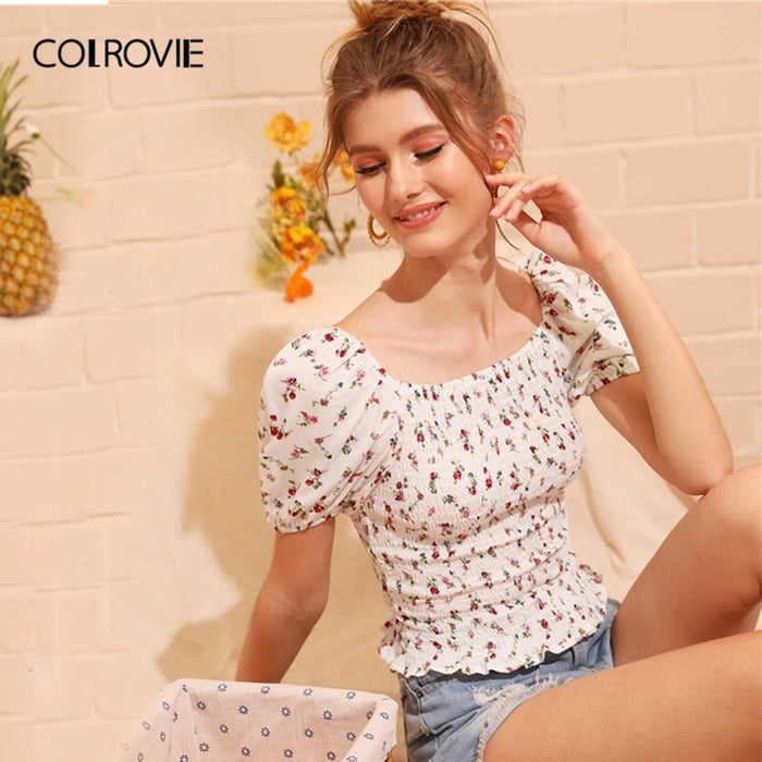 White Square Neck Ditsy Floral Print Shirred Frill Boho Top Women Blouse