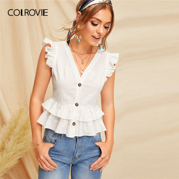 COLROVIE White V Neck Button Layered Ruffle Sleeveless Cute Blouse Shirt Womens Clothing 2019 Summer Ladies Tops And Blouses