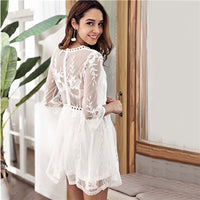 COLROVIE White V Neck Pointelle Mesh Overlay Sheer Embroidered Sexy Dress Women 2019 Summer Holiday Boho Ladies Mini Dresses