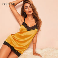 COLROVIE Yellow Lace Trim Satin Criss Cross Satin Sexy Night Dress With Thong Women 2019 Summer Sleeveless Backless Nightgowns