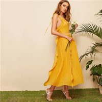 Yellow Ruffle Trim Pleated Backless Boho Cami Maxi Dress Women 2019