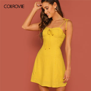 COLROVIE Yellow Self Tie Shoulder Striped Bustier Party Short Dress Women 2019 Summer Fit and Flare Sleeveless Club Sexy Dresses
