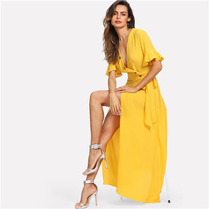 COLROVIE Yellow V Neck Button Bell Sleeve Split Wrap Elegant Maxi Dress