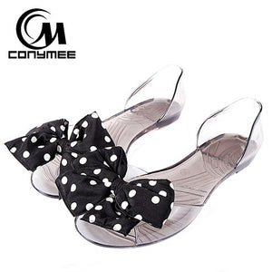 Summer Shoes Women Flat Crystal Sandals Ladies Cute Bowknot White Dot Flip Flops