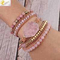 CSJA Natural Stone Bracelet Pink Quartz Leather Wrap Bracelets for Women Rose Gems Crystal Beads Bohemia  Jewelry 5 Strand S308