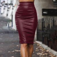 Midi Skirt Office Lady Pencil Leather Skirt Back Zipper Women