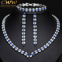 CWWZircons 3 Piece Royal Blue Cubic Zirconia Womens Wedding Party Costume Jewelry Necklace Earring Bracelet Set For Brides T038