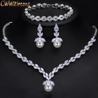 CWWZircons 3 Piece Sparkling CZ Dangle Drop Pearl Bridal Wedding Party Necklace Earrings Bracelet Jewelry Sets for Women T252