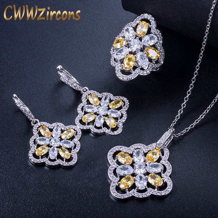 CWWZircons Gorgeous Big Yellow Cubic Zircon Stone Custume Jewelry Set For Women Hoop Earring Necklace And Ring 3 Piece Set T102
