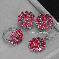 CWWZircons New Trendy Cubic Zircon Jewelry Set Big Blooming Flower Necklace Earrings Ring 3 piece Sets For Women T268