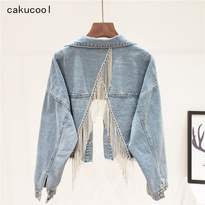 Cakucool Boho Denim jacket Female Diamonds Beading Tassels Jeans Coat Back Slit