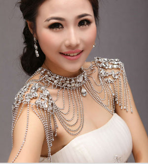 Calssic Super Luxury Queen Crystal Wedding Jewelry Shoulder Strap Bridal Necklace pretty women