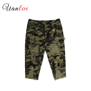 Camo Torn Bermuda Shorts Woman Mid Waist Stretchy Distressed Denim Camouflage