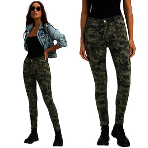 Camouflage Jeans Woman Fashion Mid Waist Slim Denim Skinny Jeans Ladies Vintage