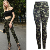 Camouflage Strip Skinny Plus Size High Waist Jeans Woman New Casual Bodycon Hot