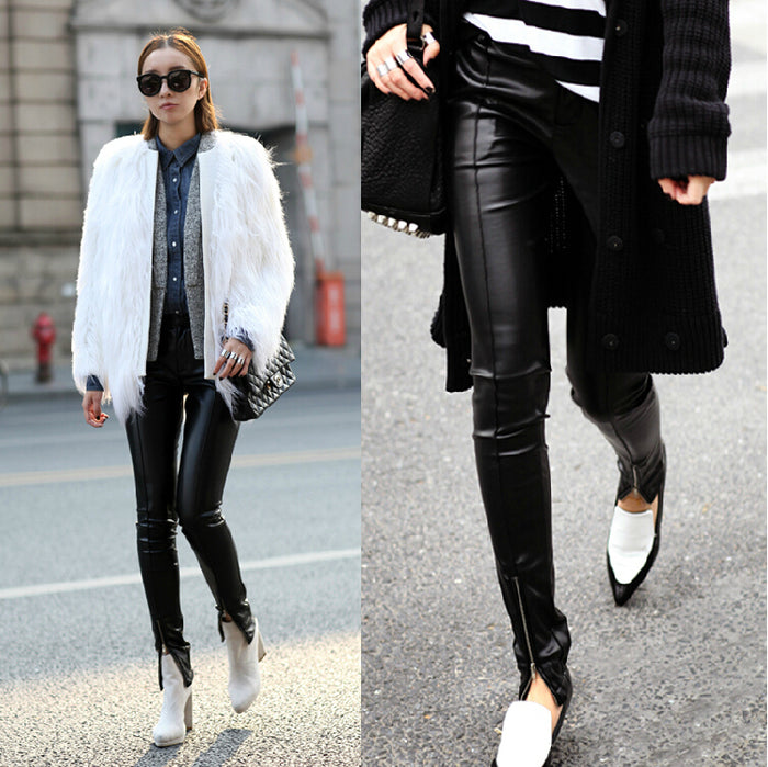 Europe US women's fashion new thin tight leather pants