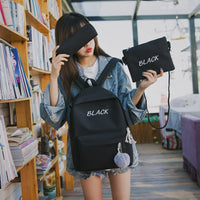 Canvas Backpack Female 3 Pcs/set Women School Backpacks Ladies Black Pink Back bags for Teenagers Girls Casual Student Satchel