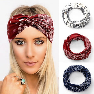 Cashew Flower Boho Headbands for Women Solid Twist Elastic Hairbands Sport