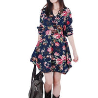 Casual Loose Women Girls Flower Print Flare Mini Dress V -neck Buttons Big Mate Long Mouths Unregular Woman Dresses