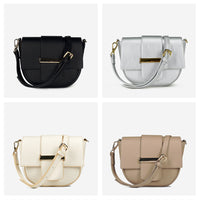 Casual Pu Leather Women's Shoulder Bags Fashion Metal Lock Flip Saddle Bags for Women Designer Solid Color Ladies Shoulder Bag
