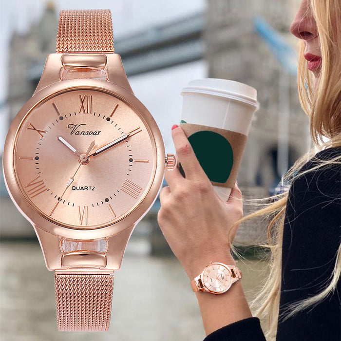 Casual Quartz Stainless Steel Band New Strap Watch Analog Wrist Watch Simple Watches Rhinestones Dress Woman Watch Rose