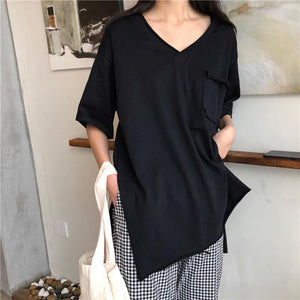 Casual Simple Solid Color T-Shirt 2019 Summer New Pocket Side Slit Loose Pullover
