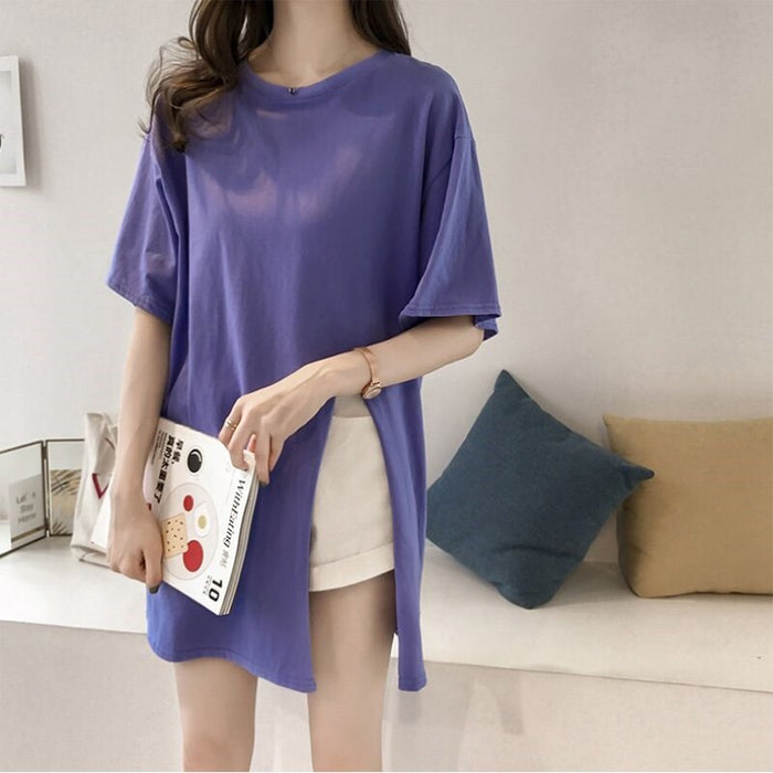 Casual  Streetwear T Shirt Women Side Split Tees Summer Tee Shirt Womens Maxi Slit
