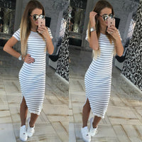 Casual Striped Dress Summer Women Short Sleeve O-Neck Slim Fit Bodycon Dress Striped T Shirt Dress Sheath women clothing LJ4862E
