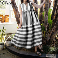 Celmia  Dress 2019 Summer Women Vintage Stripe Long Maxi Dresses Casual V Neck Sleeveless Loose Plus Size Vestidos Robe 7