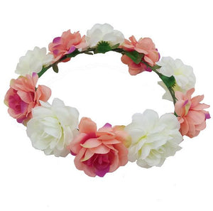 Charming Female Beach Wreath Girls Bridal Wedding Head Accessories Rose Flower Garland Headband Hair Band