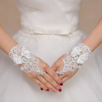 Charming White Short Gloves Crystals Beaded Bow Knot Women