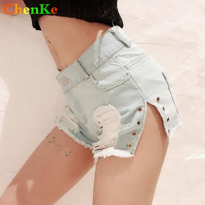 ChenKe 2018 Denim Shorts New Arrival Women Fashion Brand Vintage Rivet Tassel