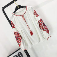 Cheshanf Ethnic Embroidery Floral Blouse Ladies Long Sleeve Women Shirts Female 2017 Vintage Tassel Lace Up Collar Blusa Mujer