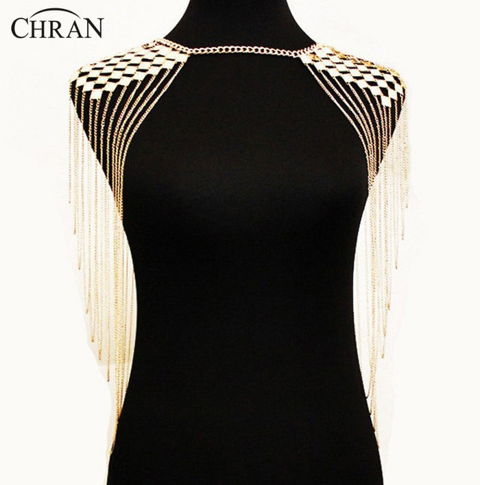 Chran New Arrival Women Sexy Beach Chain Exaggerated Shoulder Multi layer Gold Silver Metal Tassel Chain Shoulder Necklace BC805