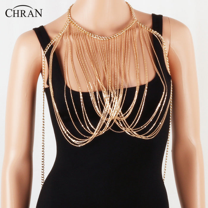 Chran Women Lady Punk Tassel Choker Shoulder Necklace Jewellery Beach Chain Crop Top Wear Harness Bikini WearJewelry DDBJ2012