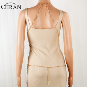 Chran Womens Sexy Mesh Full Beach Chain Jewelry Fashion Dress Decor Chain Beach Harness Necklace Wear Jewelry CRBJ117