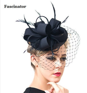 Classic Black Ivory Satin Feather Hats Birdcage Wedding Veil Fascinator Hat Flower Hair clip Headband For Church Cocktail Party