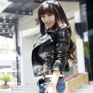 Leather Jacket Women Cool Slim Short Motorcycle Jackets Ladies Autumn Zipper Coat