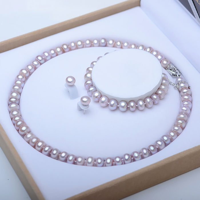 Classic High Quality Freshwater Pearl Necklace Sets Necklace Bracelet Stud Earrings 3 Piece Set Women Bridal Jewelry Sets Gift