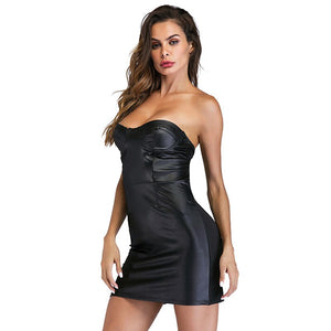 Women Party Dress Fashion Wetlook Vinyl Leather Robe Off The Shoulder Sexy Strapless