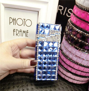 Colorful Diamond Slim Cigarette Box Metal Anti-pressure Portable Sealed Waterproof For Women Fashion 14 Free Cigarette Case Gift