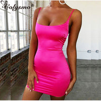 Colysmo Stretch Mini Satin Dress Women Sexy Straps Slim Fit Bodycon Party Dress Neon Green Pink Dress Summer Dreses Dual-layered